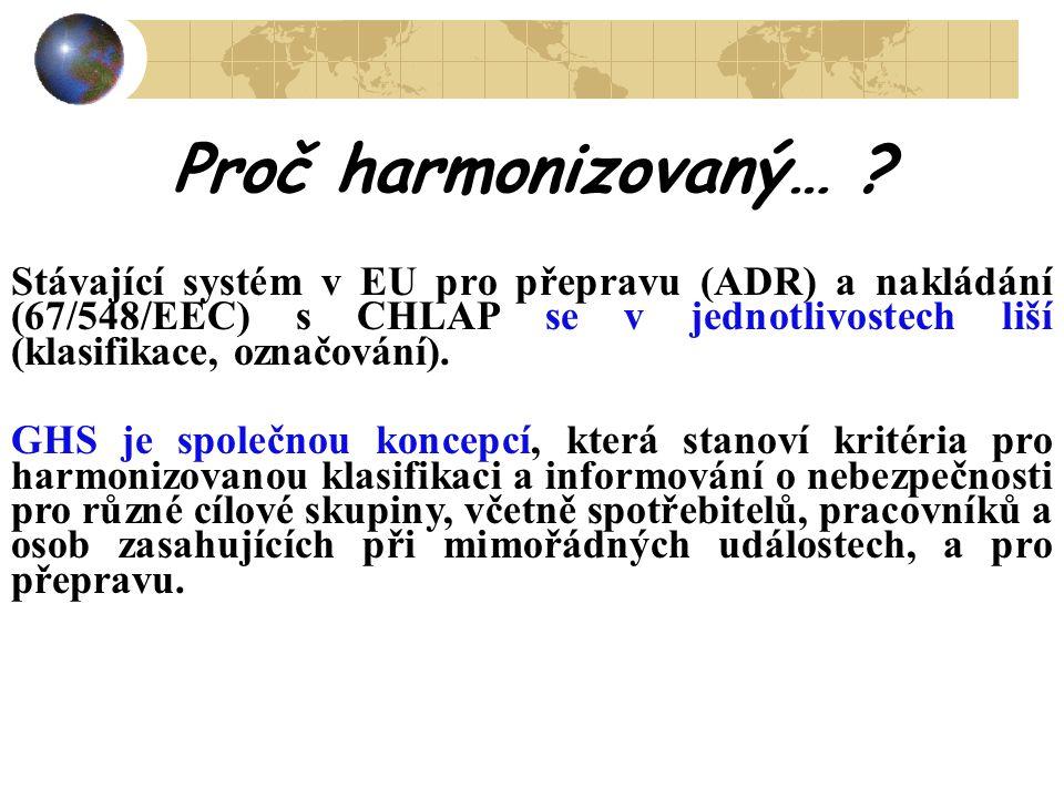 Proč harmonizovaný… Stávající systém v EU pro přepravu (ADR) a nakládání (67/548/EEC) s CHLAP se v jednotlivostech liší (klasifikace, označování).