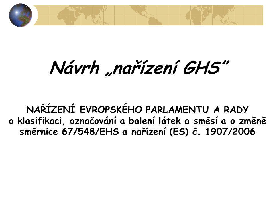 """Návrh """"nařízení GHS"""