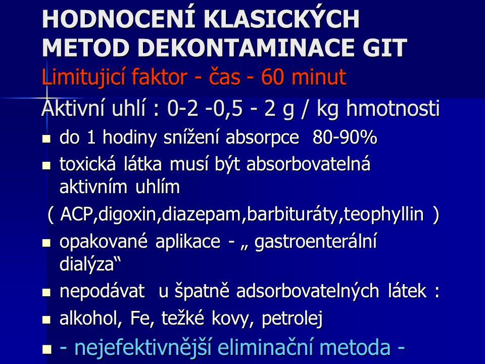 HODNOCENÍ KLASICKÝCH METOD DEKONTAMINACE GIT