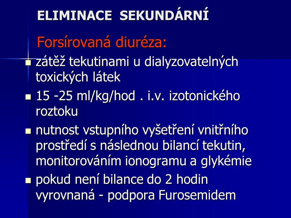 ELIMINACE SEKUNDÁRNÍ Forsírovaná diuréza: zátěž tekutinami u dialyzovatelných toxických látek. 15 -25 ml/kg/hod . i.v. izotonického roztoku.