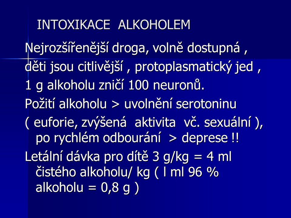 INTOXIKACE ALKOHOLEM Nejrozšířenější droga, volně dostupná , děti jsou citlivější , protoplasmatický jed ,