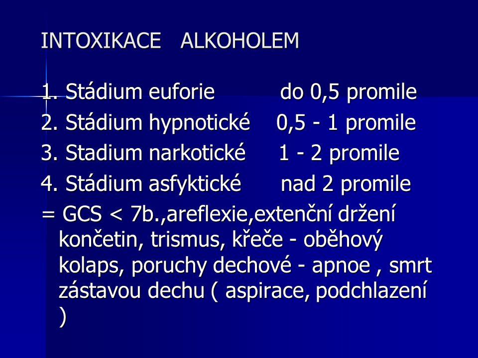 INTOXIKACE ALKOHOLEM 1. Stádium euforie do 0,5 promile. 2. Stádium hypnotické 0,5 - 1 promile.