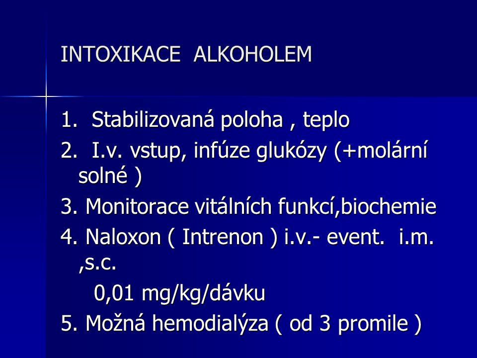 INTOXIKACE ALKOHOLEM 1. Stabilizovaná poloha , teplo. 2. I.v. vstup, infúze glukózy (+molární solné )