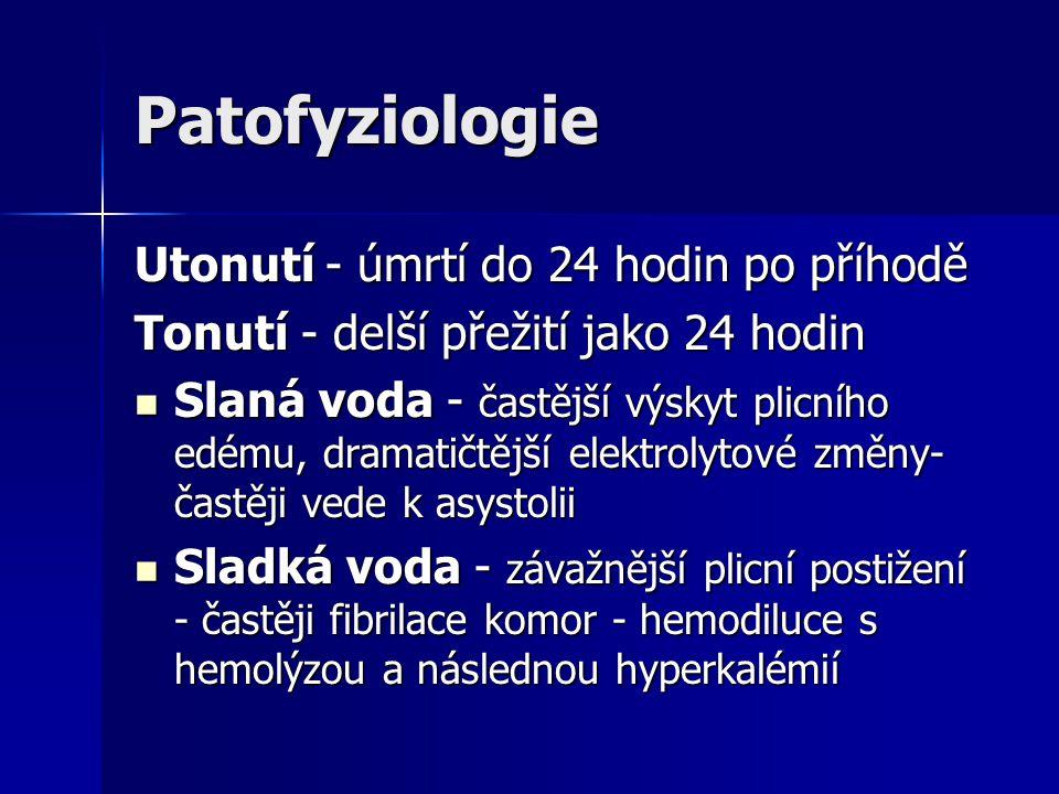 Patofyziologie Utonutí - úmrtí do 24 hodin po příhodě