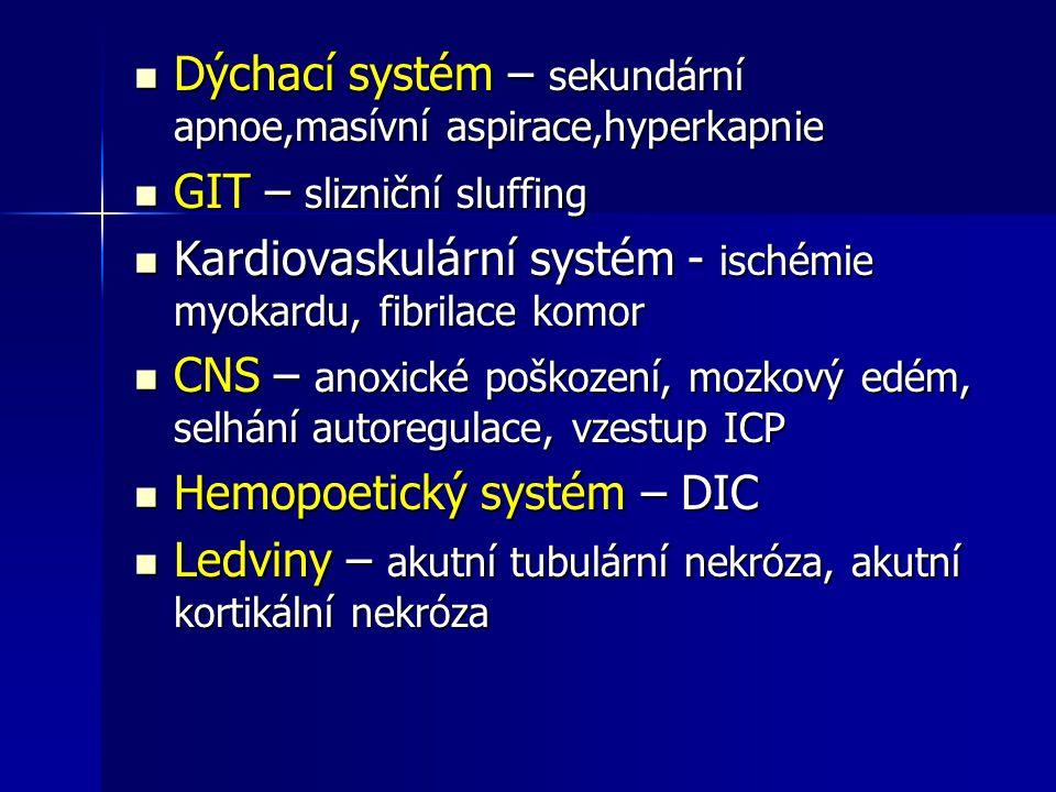 Dýchací systém – sekundární apnoe,masívní aspirace,hyperkapnie