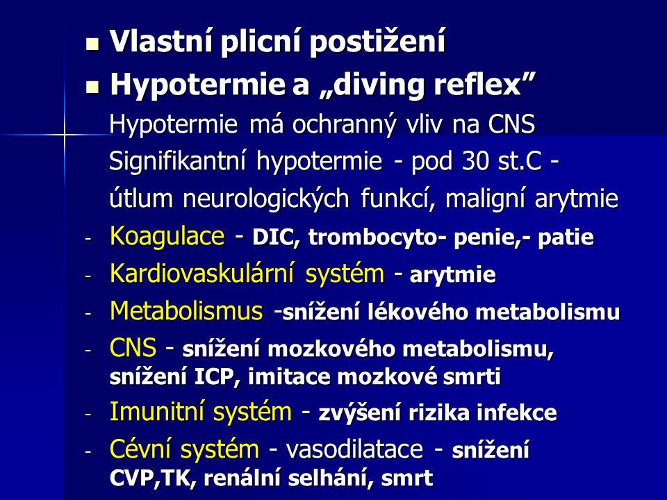 """Vlastní plicní postižení Hypotermie a """"diving reflex"""