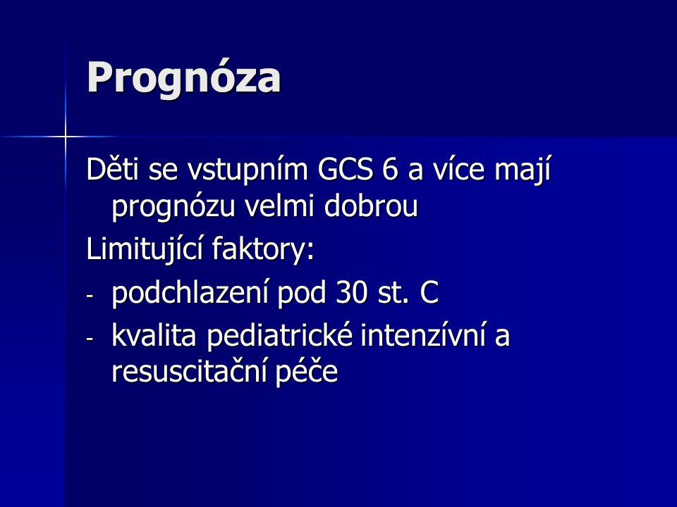 Prognóza Děti se vstupním GCS 6 a více mají prognózu velmi dobrou