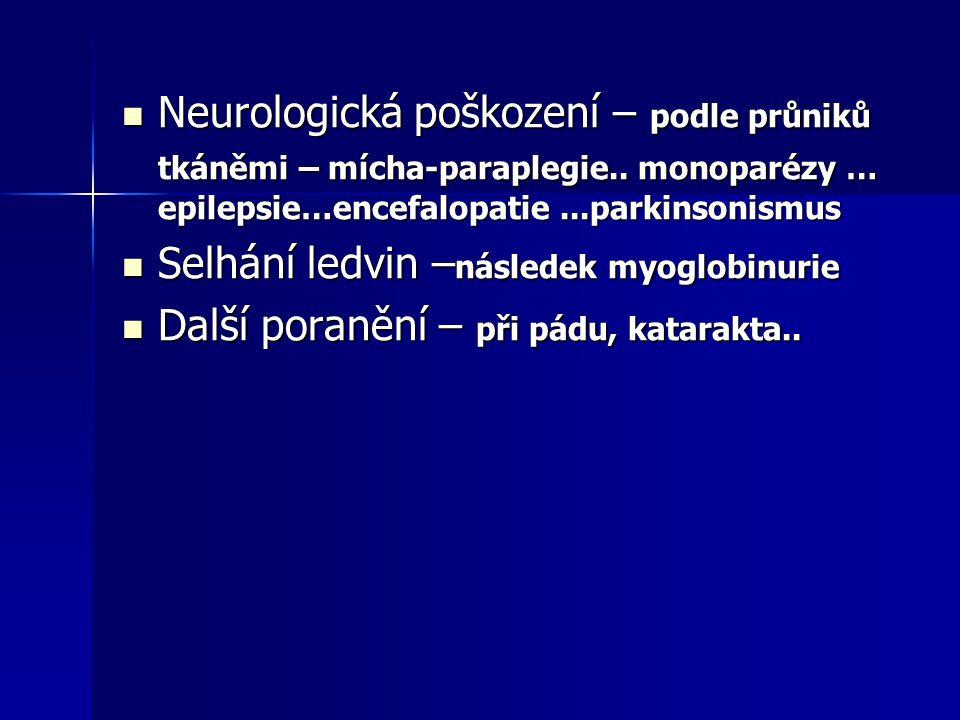 Neurologická poškození – podle průniků tkáněmi – mícha-paraplegie
