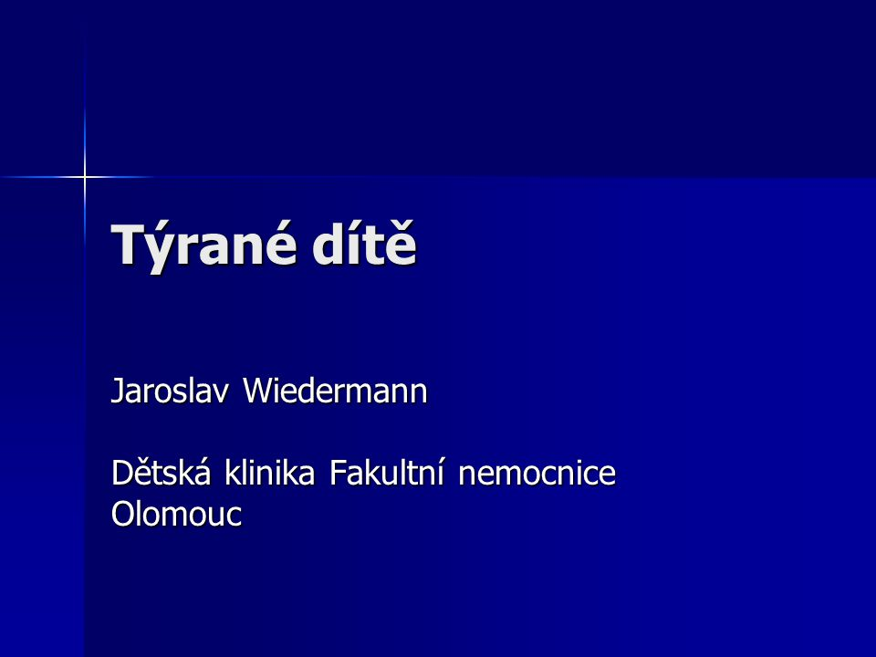 Jaroslav Wiedermann Dětská klinika Fakultní nemocnice Olomouc