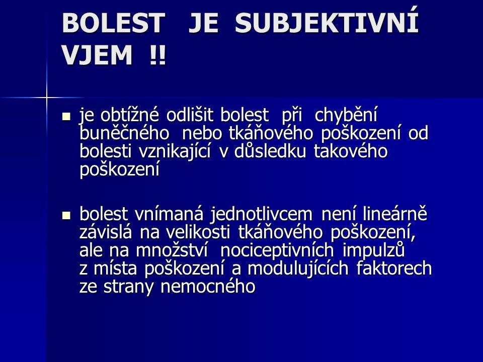 BOLEST JE SUBJEKTIVNÍ VJEM !!