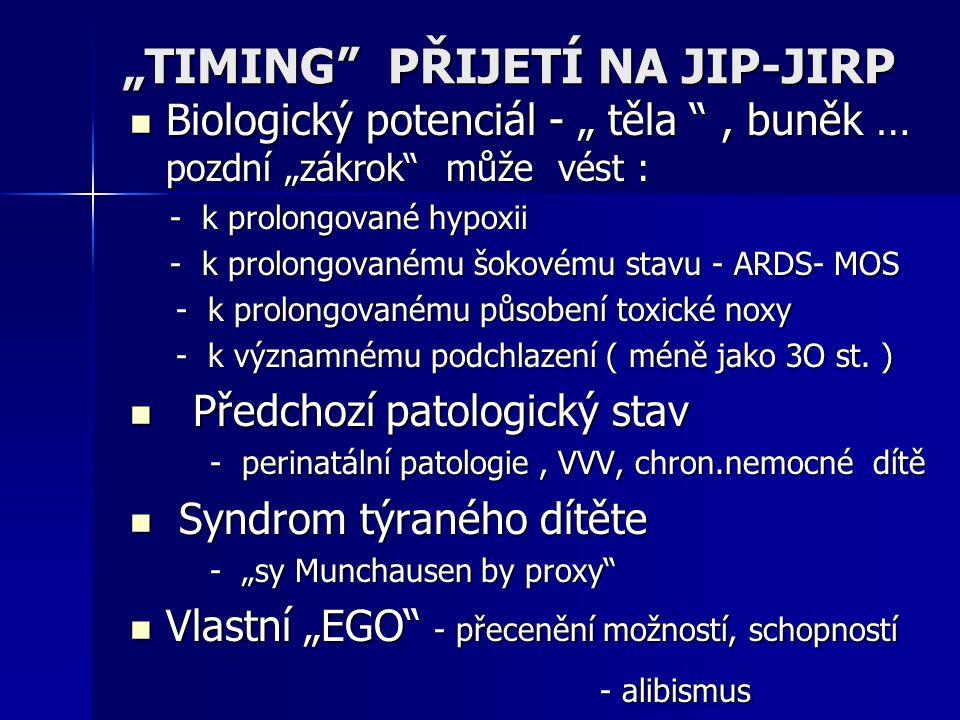 """""""TIMING PŘIJETÍ NA JIP-JIRP"""