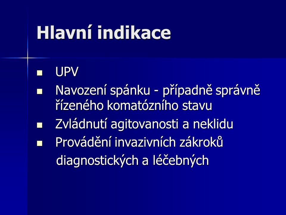 Hlavní indikace UPV. Navození spánku - případně správně řízeného komatózního stavu. Zvládnutí agitovanosti a neklidu.