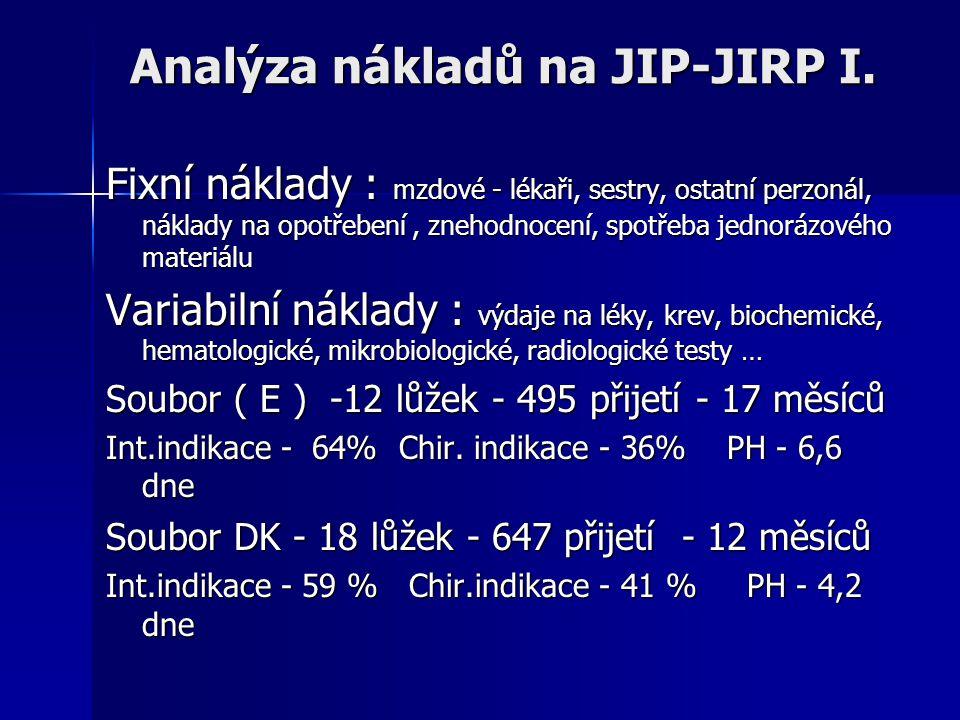 Analýza nákladů na JIP-JIRP I.