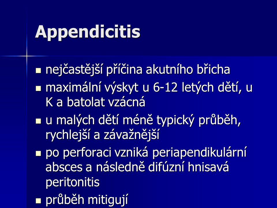 Appendicitis nejčastější příčina akutního břicha