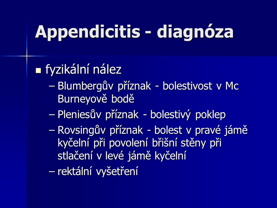 Appendicitis - diagnóza