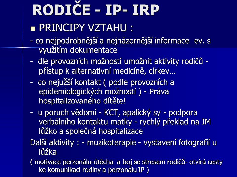 RODIČE - IP- IRP PRINCIPY VZTAHU :