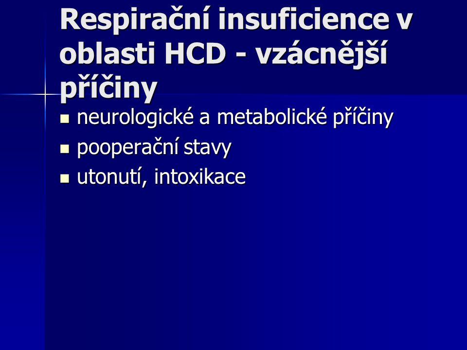 Respirační insuficience v oblasti HCD - vzácnější příčiny