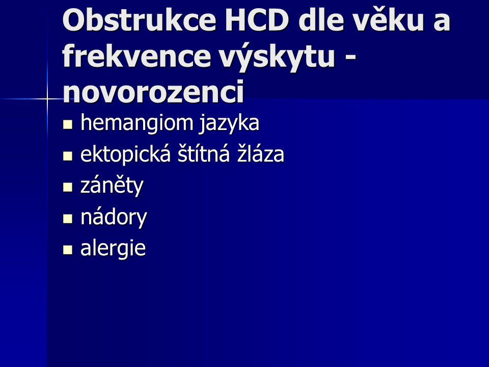 Obstrukce HCD dle věku a frekvence výskytu - novorozenci