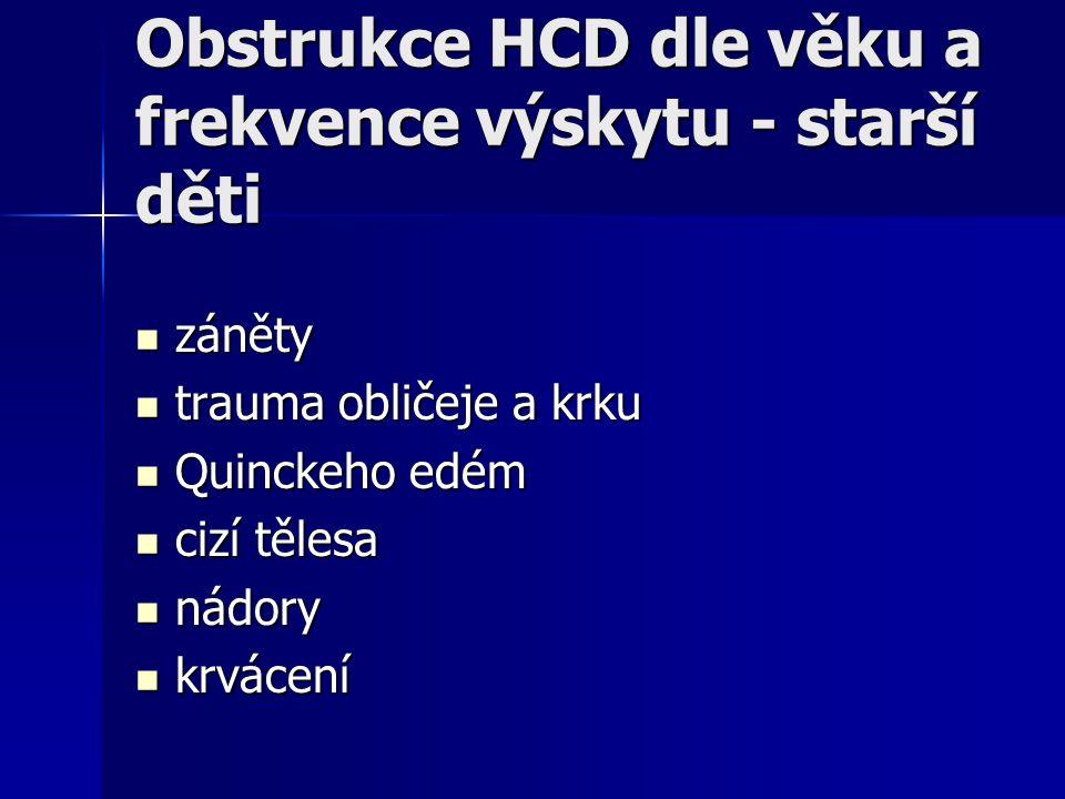 Obstrukce HCD dle věku a frekvence výskytu - starší děti