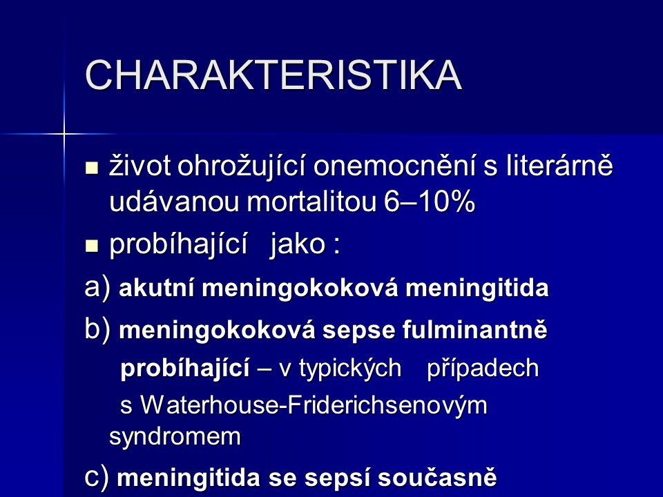 CHARAKTERISTIKA život ohrožující onemocnění s literárně udávanou mortalitou 6–10% probíhající jako :
