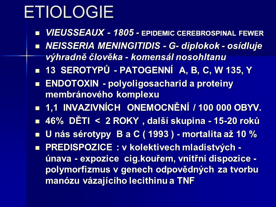 ETIOLOGIE VIEUSSEAUX - 1805 - EPIDEMIC CEREBROSPINAL FEWER