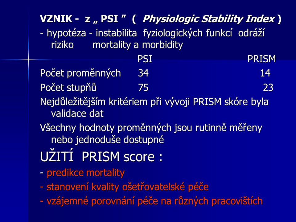 """UŽITÍ PRISM score : VZNIK - z """" PSI ( Physiologic Stability Index )"""