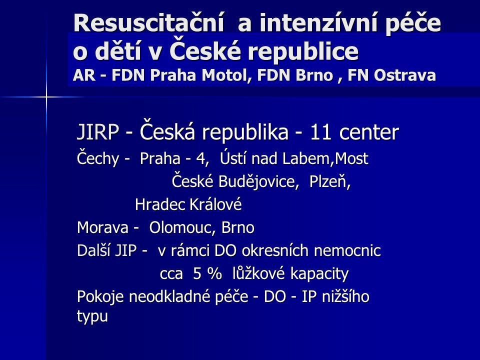 Resuscitační a intenzívní péče o dětí v České republice AR - FDN Praha Motol, FDN Brno , FN Ostrava