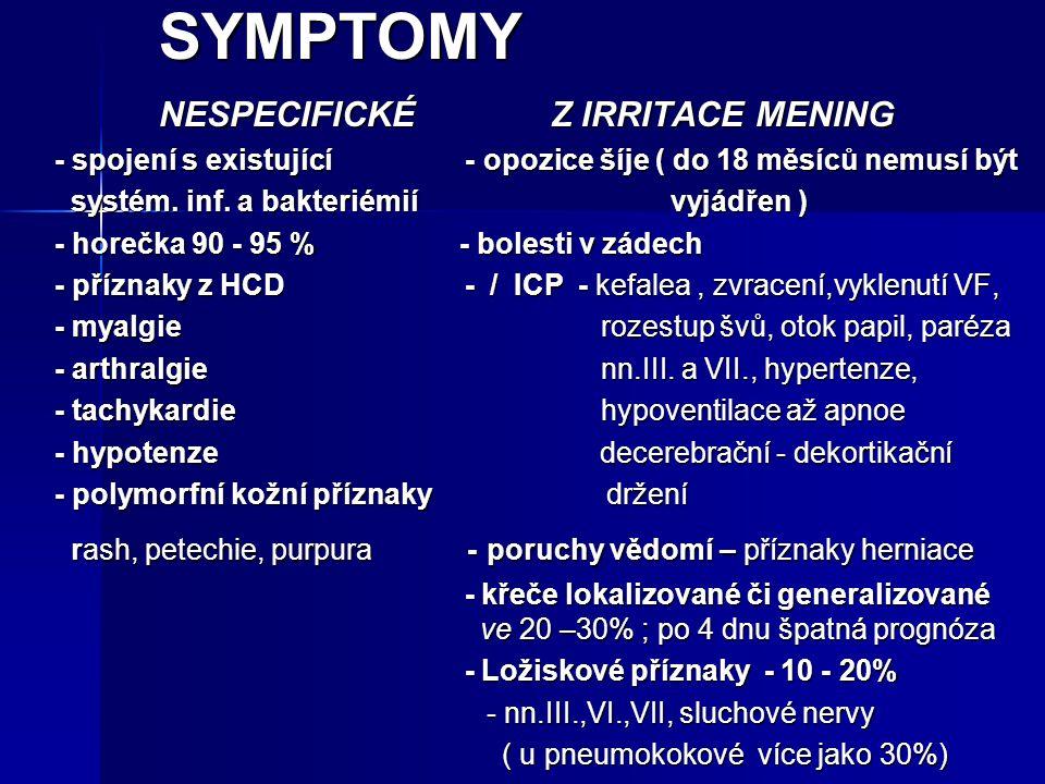 SYMPTOMY NESPECIFICKÉ Z IRRITACE MENING