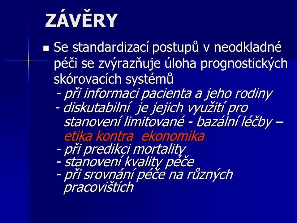 ZÁVĚRY Se standardizací postupů v neodkladné péči se zvýrazňuje úloha prognostických skórovacích systémů.