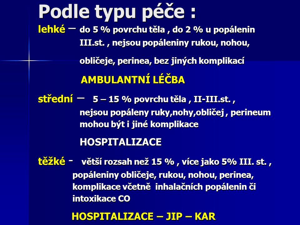 Podle typu péče : AMBULANTNÍ LÉČBA HOSPITALIZACE