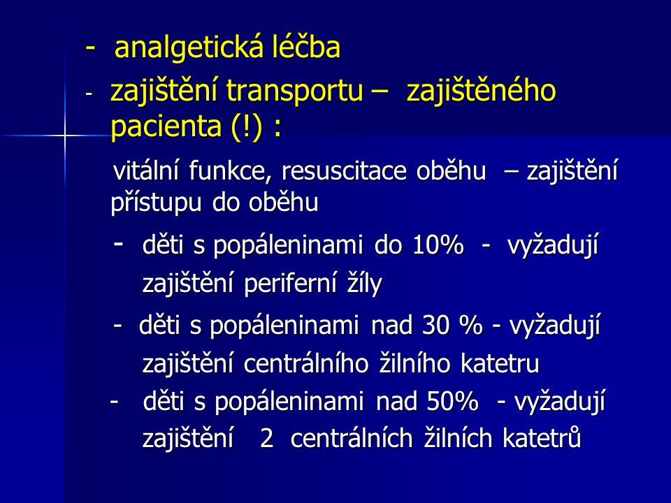 zajištění transportu – zajištěného pacienta (!) :