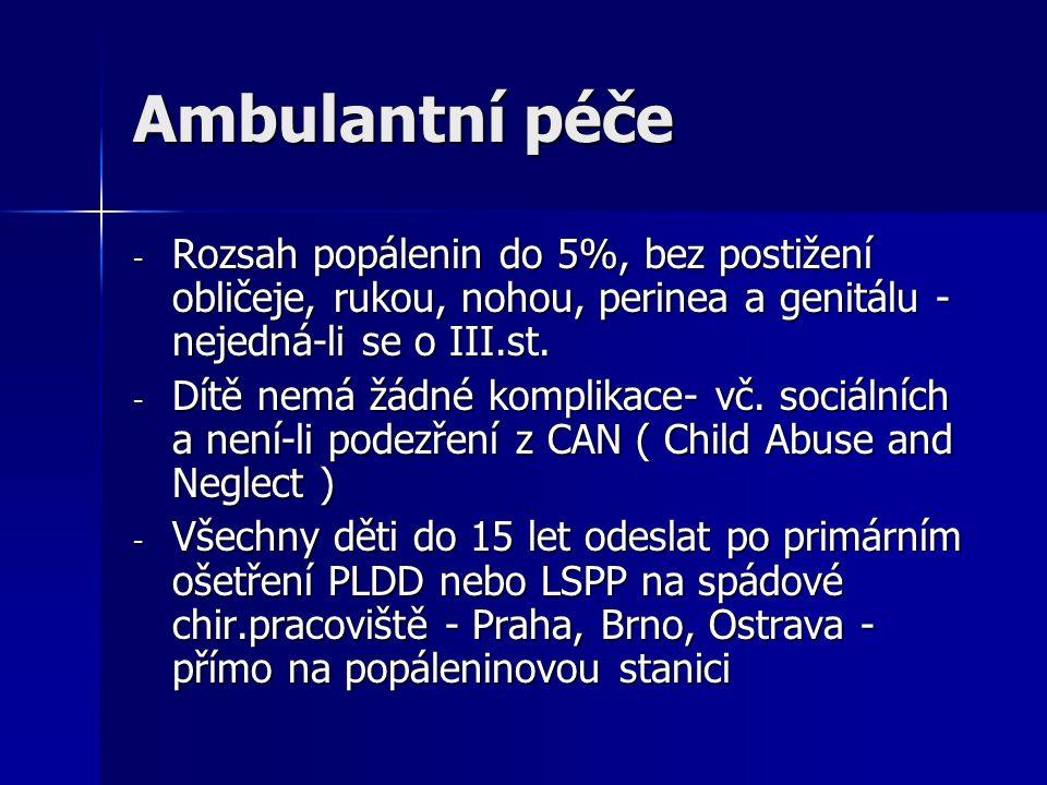 Ambulantní péče Rozsah popálenin do 5%, bez postižení obličeje, rukou, nohou, perinea a genitálu - nejedná-li se o III.st.