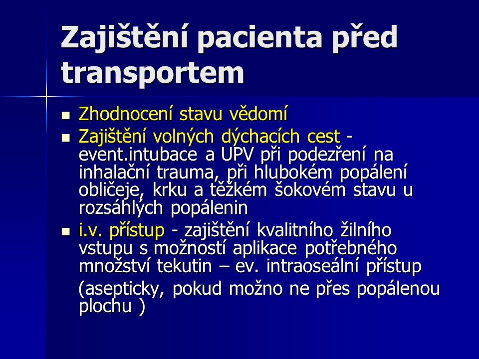 Zajištění pacienta před transportem