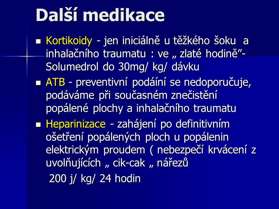 """Další medikace Kortikoidy - jen iniciálně u těžkého šoku a inhalačního traumatu : ve """" zlaté hodině - Solumedrol do 30mg/ kg/ dávku."""