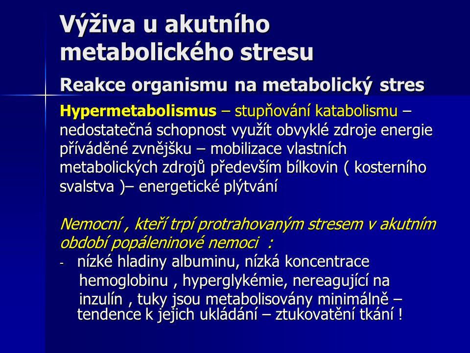 Výživa u akutního metabolického stresu Reakce organismu na metabolický stres