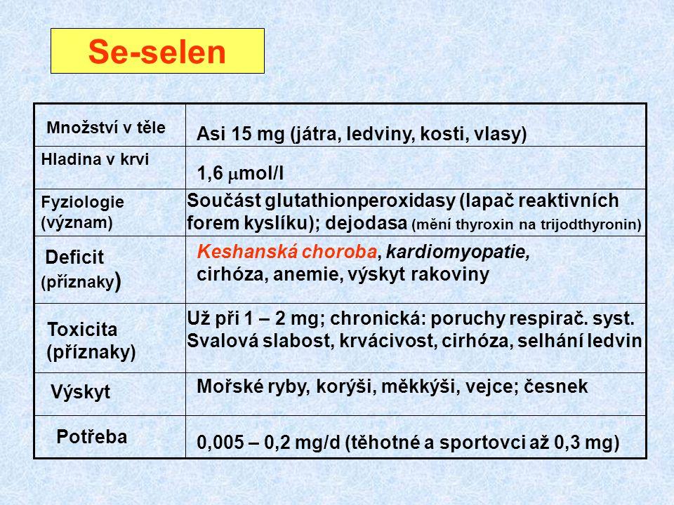 Se-selen (příznaky) Asi 15 mg (játra, ledviny, kosti, vlasy)