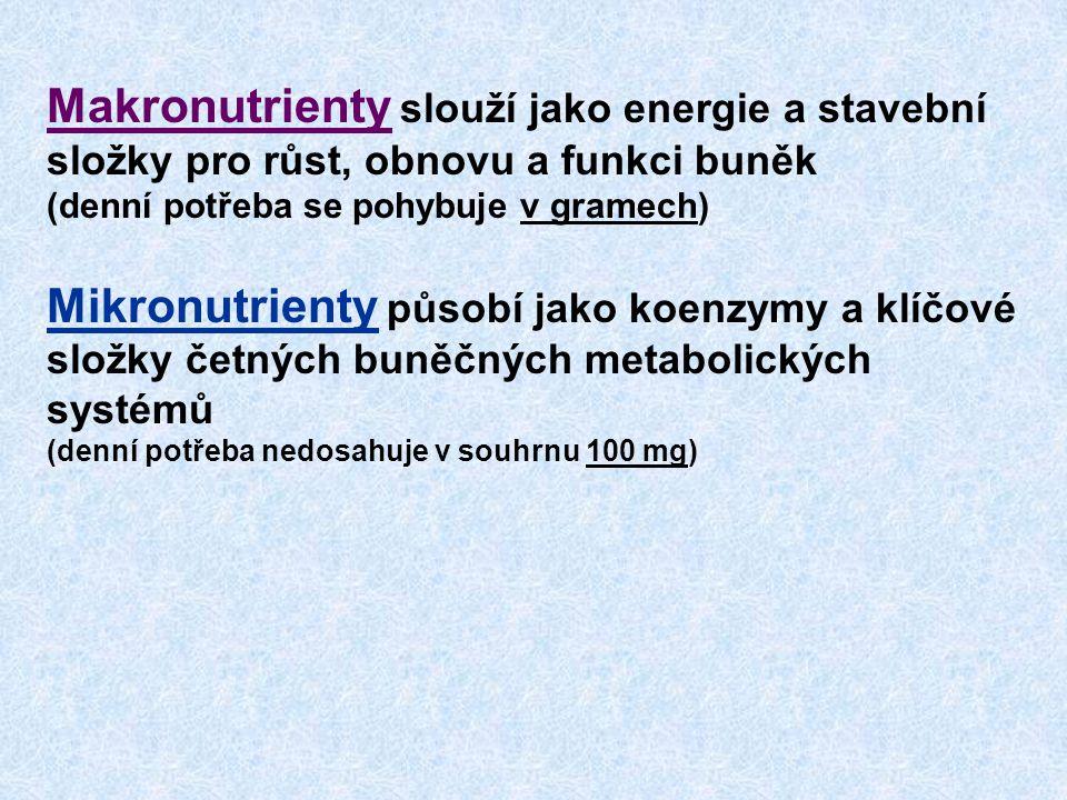 Makronutrienty slouží jako energie a stavební složky pro růst, obnovu a funkci buněk (denní potřeba se pohybuje v gramech)