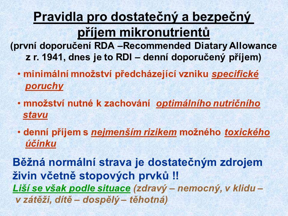 Pravidla pro dostatečný a bezpečný příjem mikronutrientů (první doporučení RDA –Recommended Diatary Allowance z r. 1941, dnes je to RDI – denní doporučený příjem)