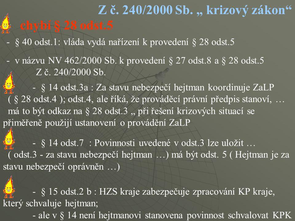 """Z č. 240/2000 Sb. """" krizový zákon chybí § 28 odst.5"""