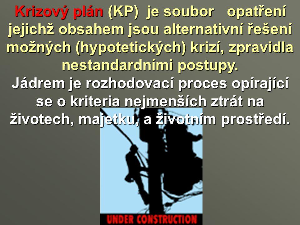 Krizový plán (KP) je soubor opatření jejichž obsahem jsou alternativní řešení možných (hypotetických) krizí, zpravidla nestandardními postupy.