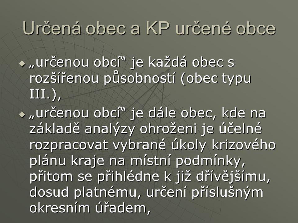 Určená obec a KP určené obce