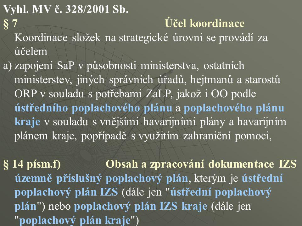 Vyhl. MV č. 328/2001 Sb. § 7 Účel koordinace.