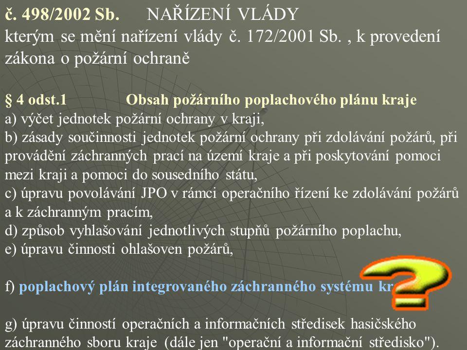 č. 498/2002 Sb. NAŘÍZENÍ VLÁDY kterým se mění nařízení vlády č. 172/2001 Sb. , k provedení zákona o požární ochraně.