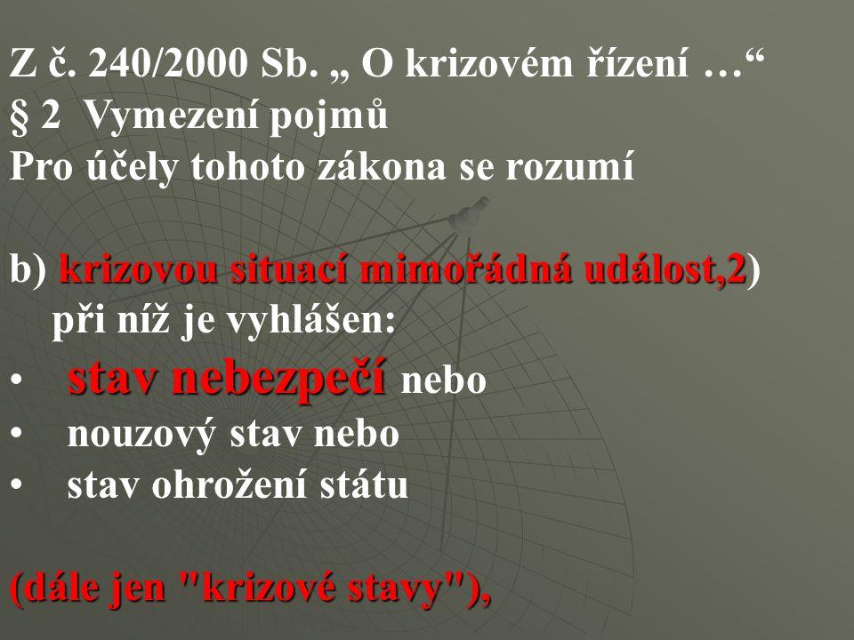 """Z č. 240/2000 Sb. """" O krizovém řízení …"""