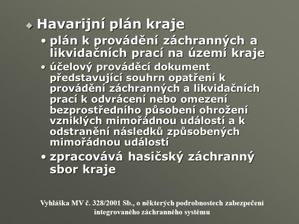 Havarijní plán kraje plán k provádění záchranných a likvidačních prací na území kraje.