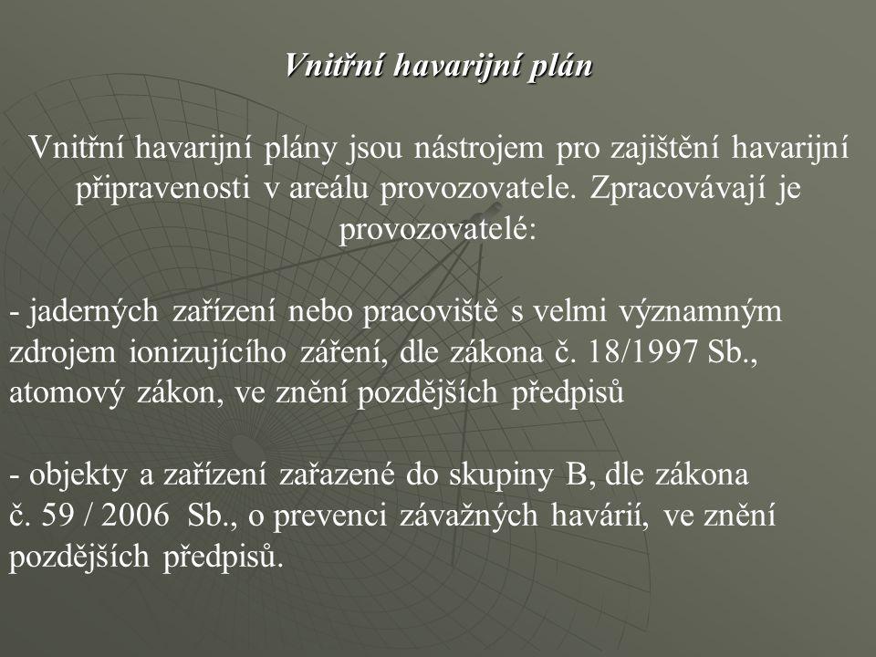 Vnitřní havarijní plán Vnitřní havarijní plány jsou nástrojem pro zajištění havarijní připravenosti v areálu provozovatele. Zpracovávají je provozovatelé: