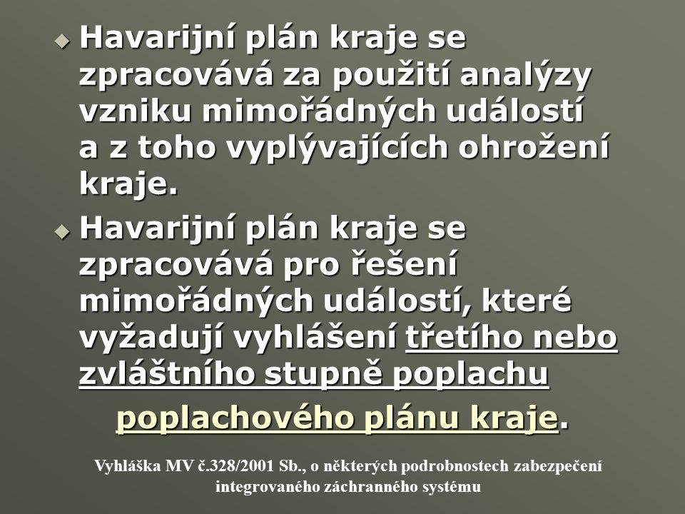 poplachového plánu kraje.