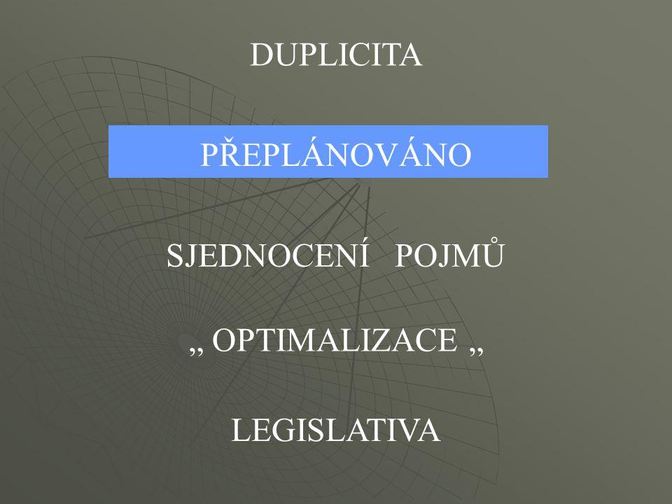 """DUPLICITA PŘEPLÁNOVÁNO SJEDNOCENÍ POJMŮ """" OPTIMALIZACE """" LEGISLATIVA"""