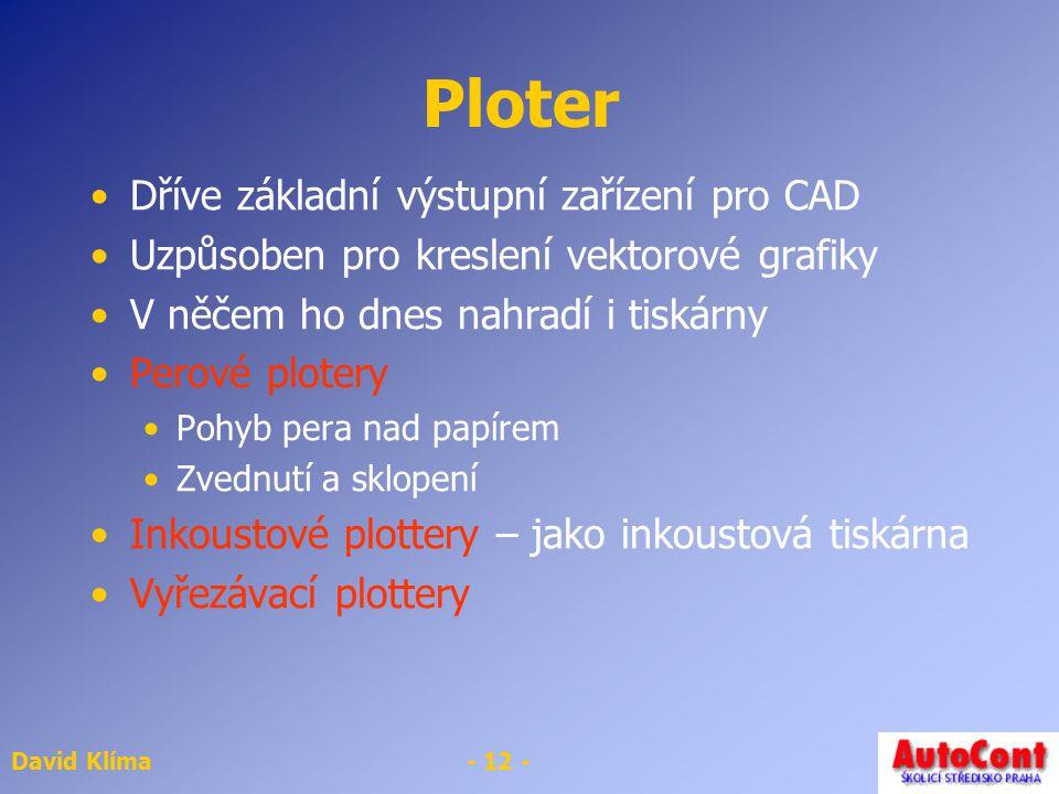 Ploter Dříve základní výstupní zařízení pro CAD