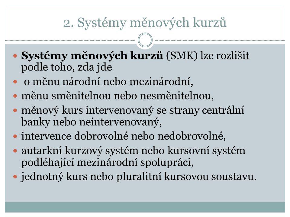 2. Systémy měnových kurzů